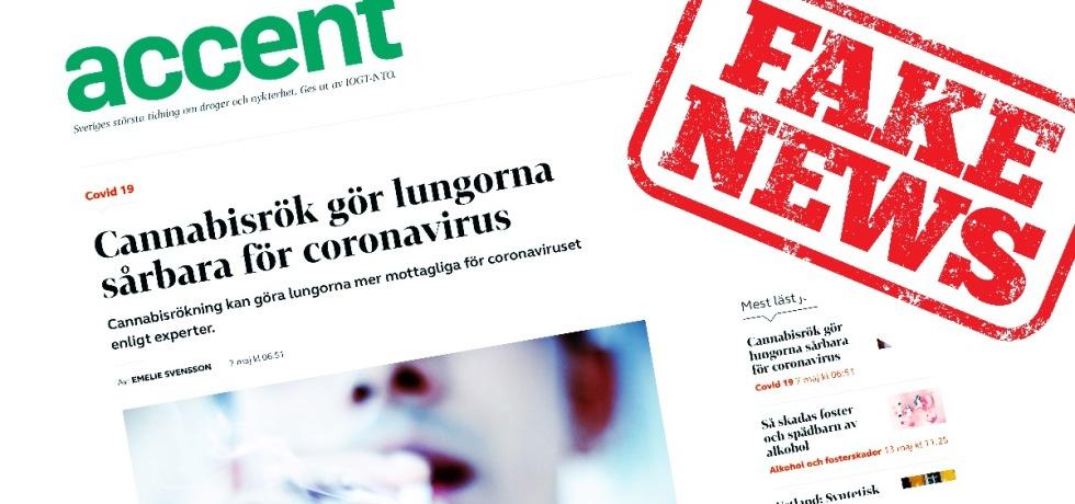 Nykterhetstidningen IOGT:NTO struntar i fakta - hittar på att cannabisrökning är riskfaktor för Covid19